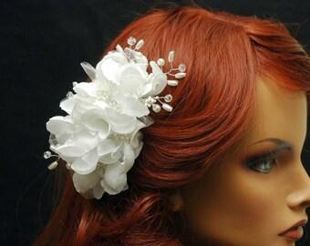 SALE Silk Flower Bridal Headpiece, Bridal Flower Hair Comb, Wedding Headpiece, Bridal Hair Accessories, Wedding Hair Piece