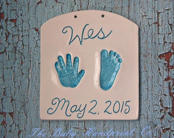 Baby Handprint Art Personalized - Hand and Footprint  - Personalized Newborn Keepsake - Custom Baby Keepsake - Personalized Baby Heirloom