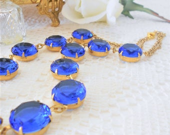Sapphire Collet, Sapphire Choker, Blue Necklace, Art Deco Necklace, Sapphire Crystal Necklace, Vintage Glass Jewel Necklace, Old Hollywood