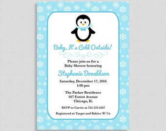 Penguin Baby Shower Invitation, Blue Snowflake Shower Invite, Winter Invite, Baby Boy, DIY PRINTABLE