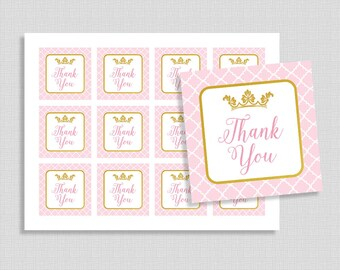 Princess Favor Tags, Pink and Gold Glitter Crown Shower Party Favor Tags, Thank You Tags, Baby Girl, INSTANT PRINTABLE