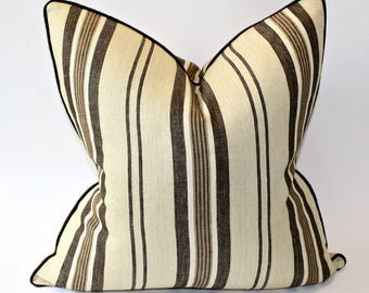 "Pair of Brown and Tan Striped F Schumacher Sagaponic Linen Pillow Cover 20"" square"