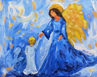 Angel child heaven canvas print of original oil painting by Sandra Cutrer Fine Art
