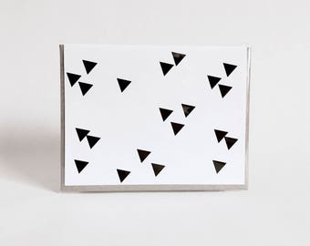 greeting card: geometric black and white card, triangles, mountains