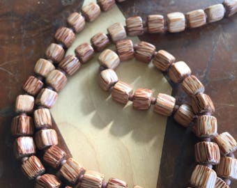 Bamboo wood and porcelain accent bead men's necklace
