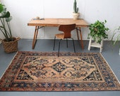 """vintage Persian area rug, rustic happy colors bohemian wool rug, worn peach and coral large rug, 7'0""""x4'5"""""""