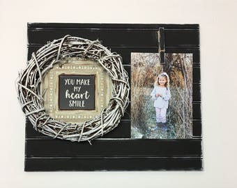 You Make My Heart Smile Photo Wreath Board in Black