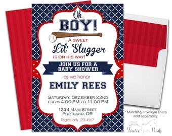 Baseball Baby Shower Invitation, Baseball Party Invite, Baby Shower Invitations for Boys, Baseball Invitation, Baseball Invite, Slugger