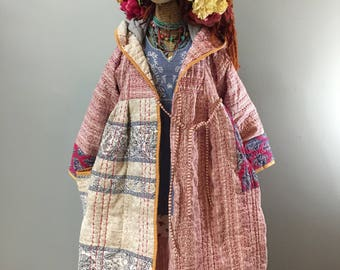 Quilted Blanket Kimono Coat-Quilted Cotton Outerwear-Cottage Chic Winter Coat-Raggandbone-Ewa I Walla Style-Sz:Made-To-Order