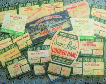 "Vintage 1958 Ephemera; ""Super Right"" Grocery Store Meat Department Paper Labels, Original Used, 25 Pieces"