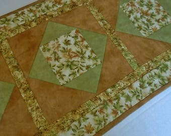 Fall Autumn Quilted Table Runner,  Fall Leaves Quilted Table Topper, Thanksgiving Runner, Fall Autumn Table Quilt, Soft Golds and Greens