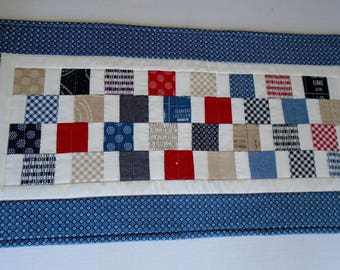 Quilted Table Runner Fourth of July, Americana Table Quilt Red White Blue, Patriotic Table Runner, Independence Day Decor, Table Mat Quilt