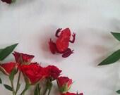 Ruby Love Frog Wearble Art Brooch by Winnifreds Daughter