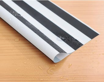 Wide Waterproof Polyester Fabric By the yard  '2 cm Black Stripe ' (width 59 inches) 90344