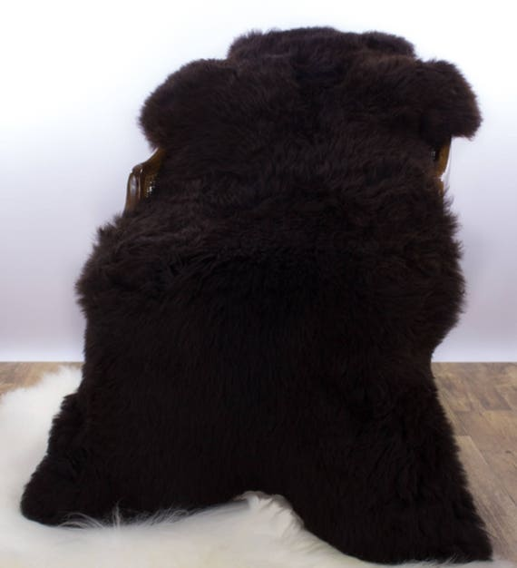 Icelandic Sheepskin Rug / Genuine Throw Natural Black, not dyed! Add warmth to your home