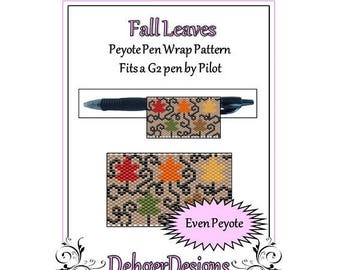 Peyote Beading Pattern (Pen Wrap/Cover)-Fall Leaves
