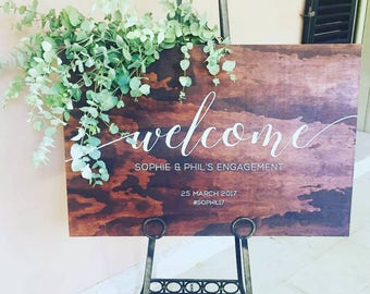 Engagement Party Welcome Sign, Bridal Shower Decor, Welcome Wedding Sign Wood
