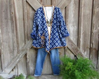 RESERVED FOR CC indigo blue kantha quilt jacket with linen trim ooak ready to ship