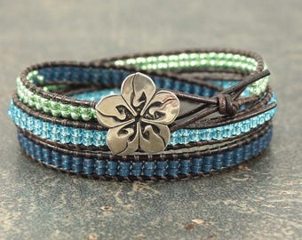 Ombre Leather Wrap Bracelet Crane Jewelry Silver Green Turquoise Navy Blue Flower Bracelet Triple Leather Wrap Bracelet