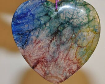 "46x47x8mm ""Dazzling/Sparkling Jewel Tone""~Color-Enhanced RAINBOW CRYSTAL QUARTZ X-Large Heart-Shaped Pendant //Cracked Dragon Vein - I1128"