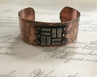 Copper Jewelry | Hammered Cuff Bracelet | Copper Rivets