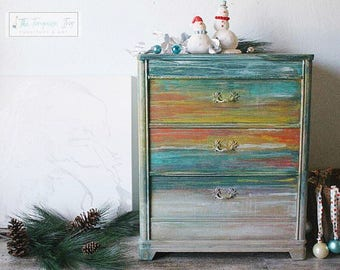 Hand Painted Abstract Sunset Dresser