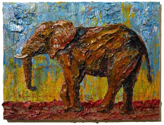 Oil Paint on Stretched Canvas of 18 by 24 by 3/4 in. / Original oil painting impressionist art elephant signed abstract modern vintage