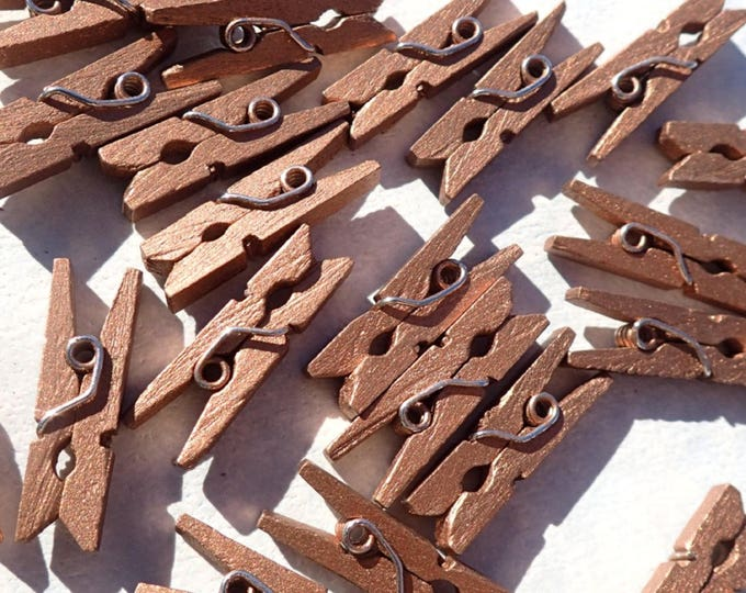 """Dark Gold Mini Clothespins - 100 - 1"""" or 2.5 cm - Wooden - Great for Wedding Favors Scrapbooking and Decorations - Dark Copper"""