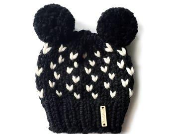 Baby Double Pom-Pom Beanie, Pom Pom Beanie, Baby Hat, Black Heart Hat, Mouse Hat, Bear Beanie, Ready to Ship