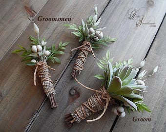 Ready to ship ~ Rustic Boutonniere with tallow berries and artificial greens. Groom made with succulent, groomsmen made with tallow berries.