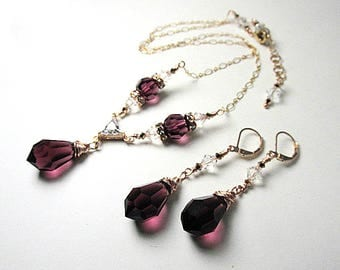Rose Gold Purple Amethyst Necklace Preciosa and Swarovski Crystal Necklace and Earring Set