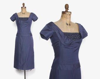 Vintage 50s Cocktail Dress / 1950s Beaded Shelf Bust Slate Blue Silk Wiggle Dress M