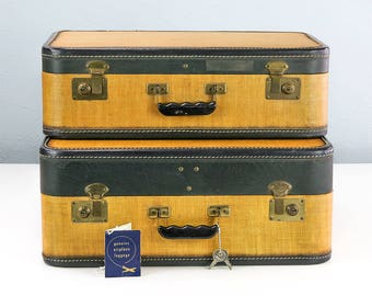 Vintage Suitcase Set, Like-New Blue Interiors, Tweed with Keys and Tag