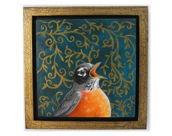 Singing Robin art - American robin painting - spring bird artwork decor - robin redbreast gold framed wall hanging - wildlife nature art