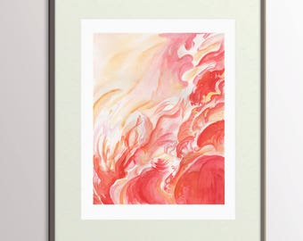 Abstract Painting Print - 8.5 x 11 Red Abstract Watercolor Painting - Modern Art - Water Color Pink and Red Painting - Art Print