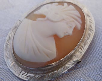 Antique Victorian lady shell cameo and sterling silver brooch, collectible cameos, vintage jewelry
