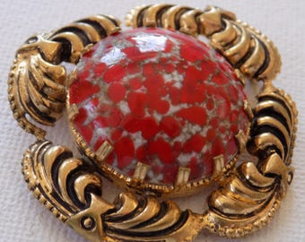 Vintage brooch,Art Nouveau style red marbled glass brooch, jewelry