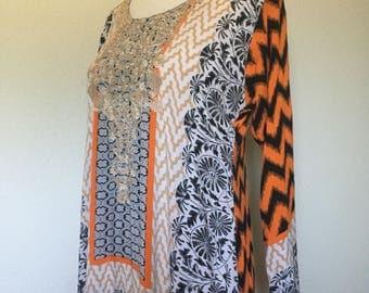 Vintage Indian tunic embroidered, orange black zigzag, bohemian tunic, boho ethnic tunic dress, floral tunic India embroidery, size M medium