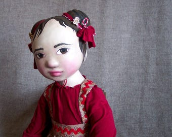 Gingerbread Lucy--a Christmas / Yule / Winter / Holiday Art Doll by Jan Conwell