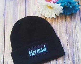 Black Mermaid Blue Font Beanie