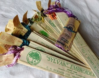 "Antique Embroidery Floss VIBRANT COLORS! 1908 ""Sylvan"" Stout Size C.A. Rickards Bradford England Original Paper Packaging LOT of 21 Packages"