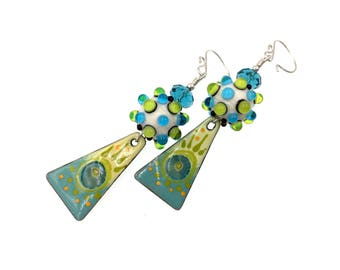 Enamel Earrings, Green Blue Earrings, Lampwork Earrings, Long Drop Earrings, Drop Earrings, Artisan Earrings, Lampwork Glass Bead Jewelry