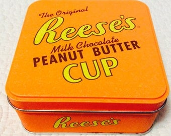 Vintage Reese's Peanut Butter Cup Tin Box Small Advertising Orange