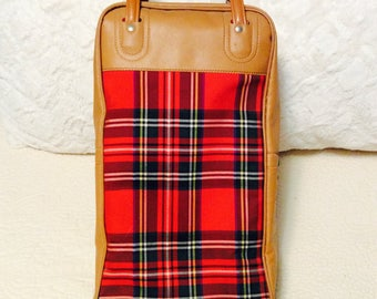 Vintage Red Plaid Thermos Bag Set Carry On Suitcase Bag Footed Picnic