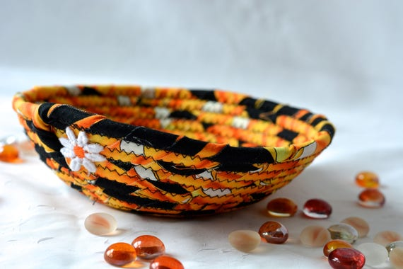 Halloween Candy Bowl, Fun Fall Basket, Handmade Funky Bowl, Gift Basket, Cute Desk Accessory Bowl,  Halloween Fall Decoration