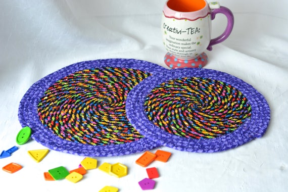 Halloween Fall Decoration, Handmade Halloween Trivets, 2 Homemade Place Mats, Lovely Black and Purple Table Toppers, 2 Hot Pads
