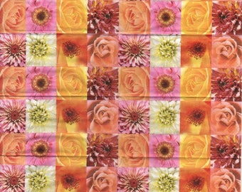 3253 - Set of 4 tissue paper, pink Daisy and other flowers