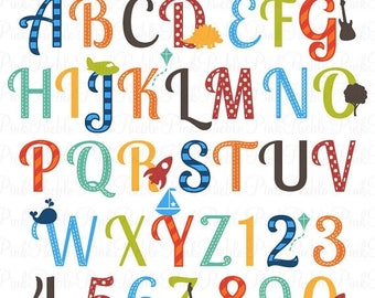 BACK TO SCHOOL Sale Boy Alphabet Letters, Scrapbooking Alphabet Clipart Clip Art, Uppercase and Numbers - Commercial and Personal Use