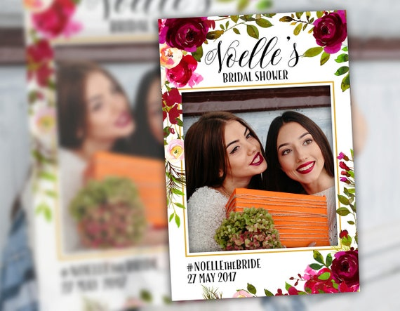 Bridal Shower Photo Booth Frame Props Floral Burgundy Plum Bridal ...