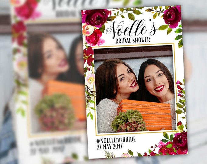 Bridal Shower Photo Booth Frame Props Floral Burgundy Plum Bridal Shower Decoration Photo Prop